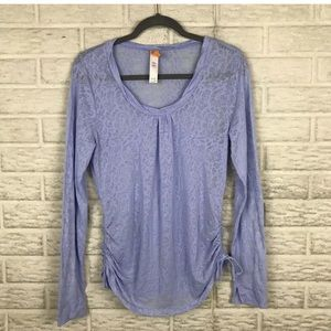 Lucy Sheer Athleisure Top w/ Ruched Sides